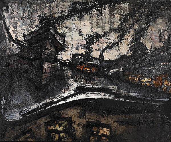 Оскар Рабин «Три крыши»  1963 г.  Фото: Государственная Третьяковская галерея