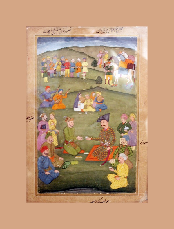 """""""Прием шахом Аббасом первого индийского посла хана Алама в 1818 г.""""  Индия  18 в.  бумага, водяные краски"""