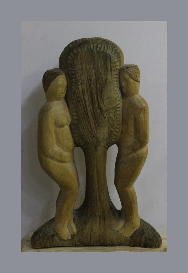 """Николай Выборнов """"Адам и Ева"""" дерево 1994 г."""