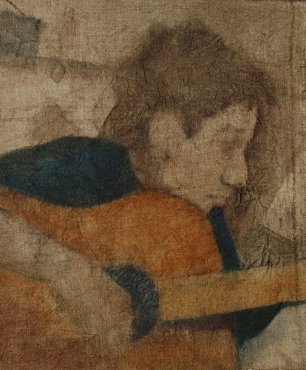 Ося Кудрявых портрет с гитарой. Творческая Мастерская Рябичевых