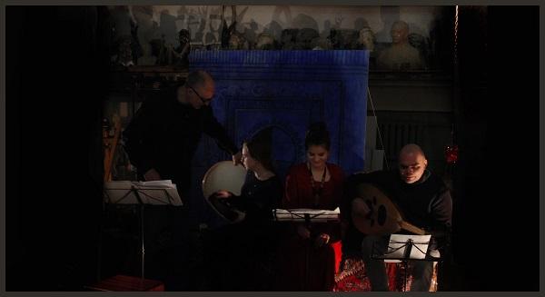 Музыканты Антонио Грамши, Джулия Аморетти, Ангелина Антонова, Борис Штейнберг в Творческой Мастерской Рябичевых вернисаж 5 марта 2019 года