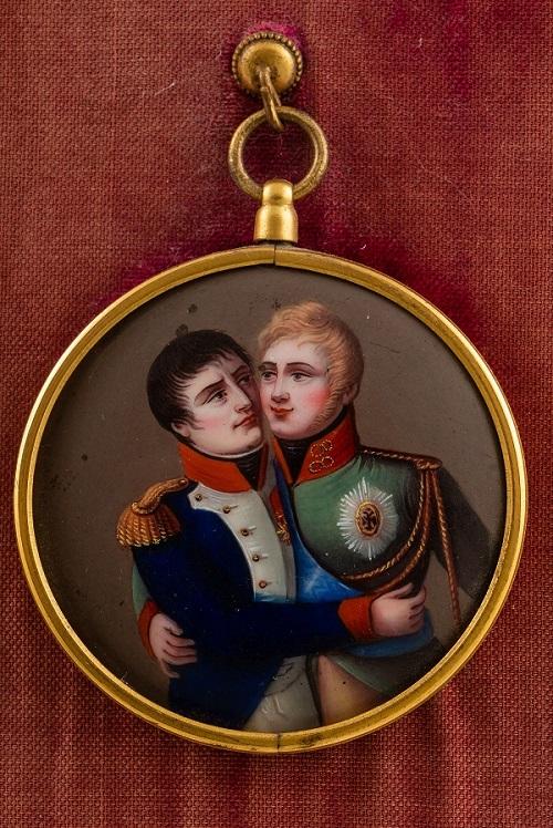 Встреча Александра I и Наполеона I в Тильзите  металл, цветная эмаль  Франция  1807 г.