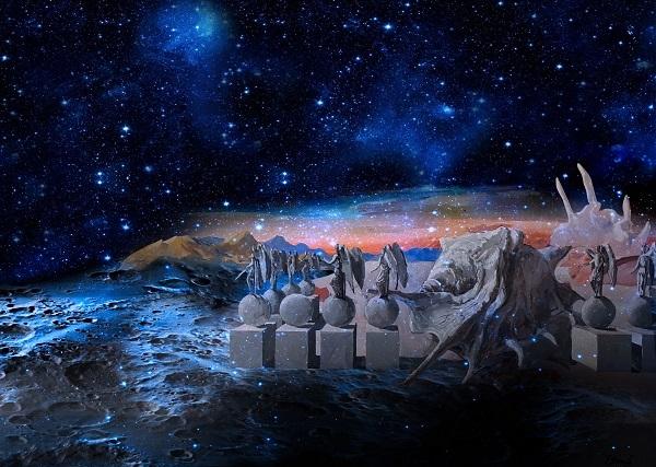 """Проект  """"Первая Выставка на Луне"""" Композиция Виктора Орловского Апрель, 2019 г."""
