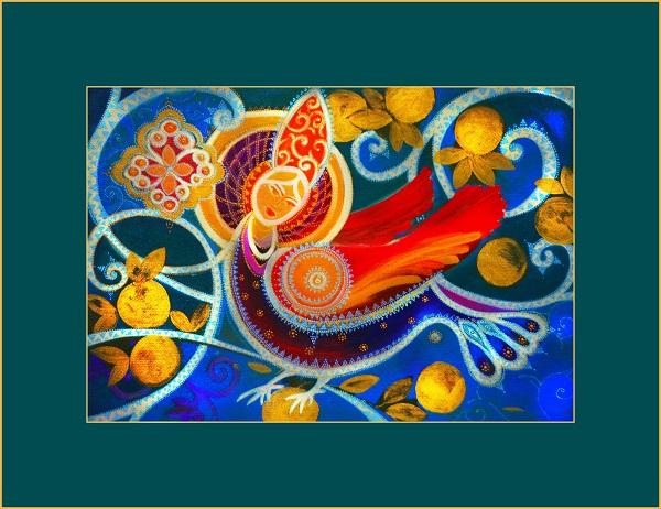 Первая Выставка на Луне, первая художественная выставка на Луне, райская птица Сирин, яйцо -- символ Космоса