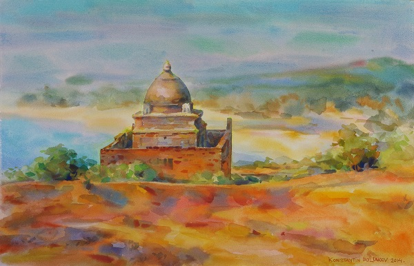 Художник Константин (Gandi) Поляков SRI RAMA TEMPLE  (2014) hand-made paper, watercolor 50Х65