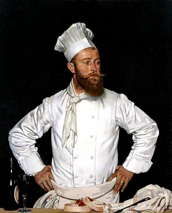 """Уильям Орпен """"Шеф-повар отеля Chatham""""  Париж  1921 г.  холст, масло  127 × 102,5   Королевская академия художеств  Лондон"""