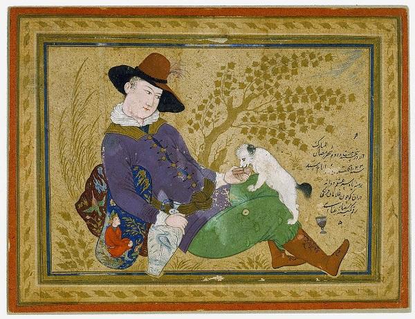 """Риза-йи-Аббаси """"Молодой португалец, поящий собаку вином""""  1634 г.  Детройт  Институт Искусств"""