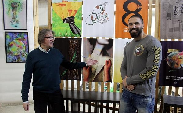 Александр Белугин  и гость выставки  Shahrokh Bagheri