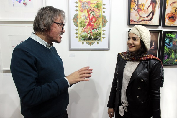 Махназ Жабри (Mahnaz Jabri) и художник, галерист Александр Белугин