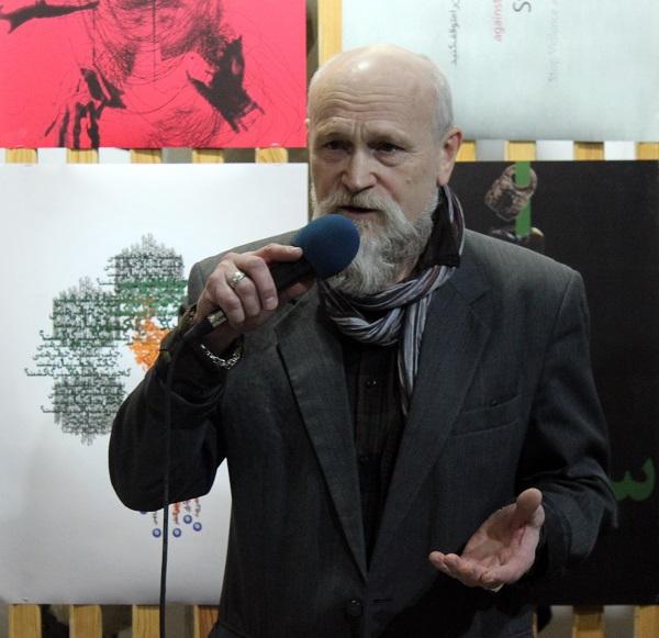 На открытии выставки  Махназ Жабри  художник  Евгений Нэтра