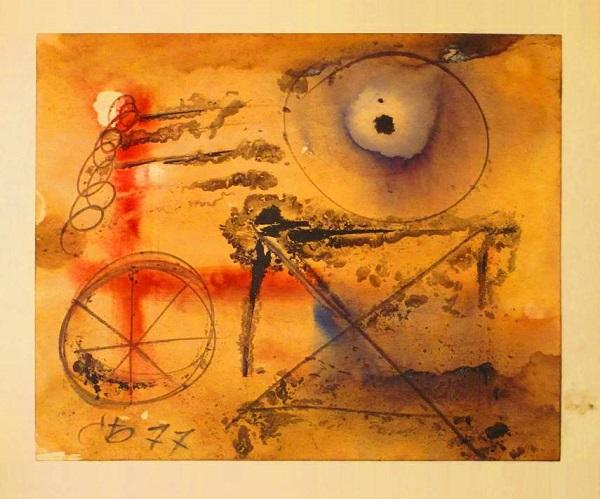 """Сергей Бордачев """"Композиция"""" бумага, акварель 1977 г.  21х29,7 см собственность автора"""