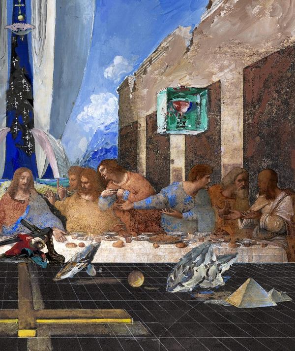 """Виктор Орловский  """"Тайная вечеря Леонардо да Винчи в пространстве  космопластицизма""""  фрагмент"""