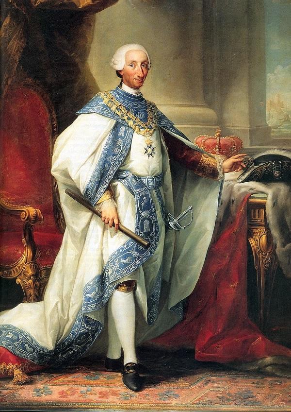 Карлос III  в костюме своего Ордена Картина представлена  в Королевском дворце в Мадриде (исп. Carlos III con el hábito de su Orden (Palacio Real de Madrid)