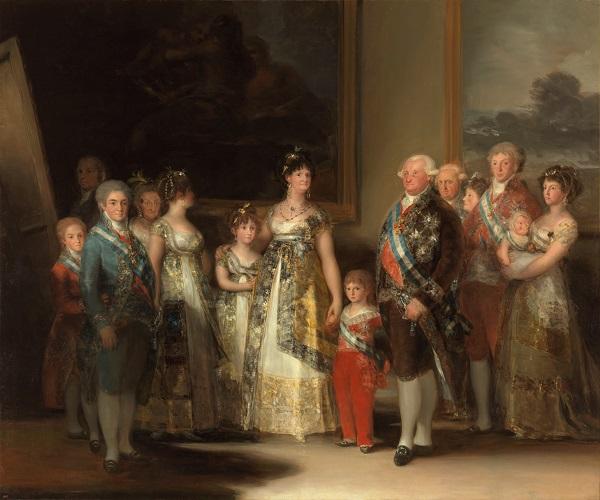 Портрет семьи Карла IV Франсиско де Гойя  (исп.  Carlos IV de España y de su familia ) 280 x 336 1800 г.  масло, холст Музей Прадо, Мадрид, Испания
