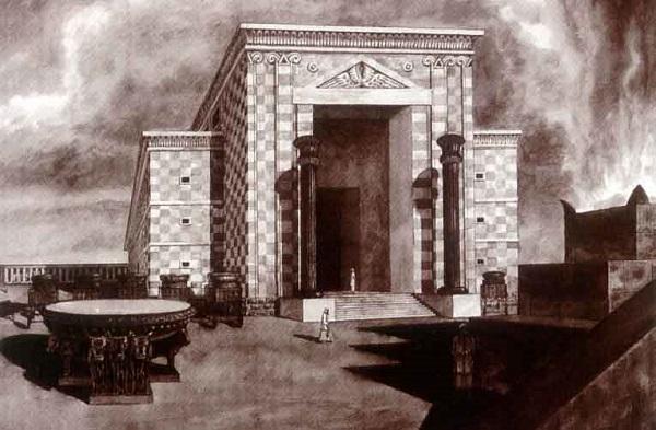 Возможная реконструкция Храма Соломона  два медных столба на входе — Иахин и Воаз