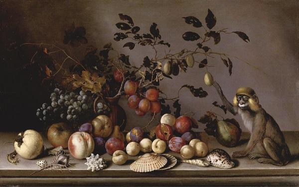 "Балтасар ван дер Аст  1593 /1594 -- 1657 гг..  при участии Йоханнеса Баумана ""Натюрморт с фруктами, раковинами и обезьянкой"""