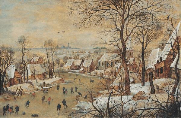 """Питер Брейгель Младший  1564/1637 -- 1638 гг.. и его мастерская """"Зимний пейзаж с ловушкой для птиц"""""""