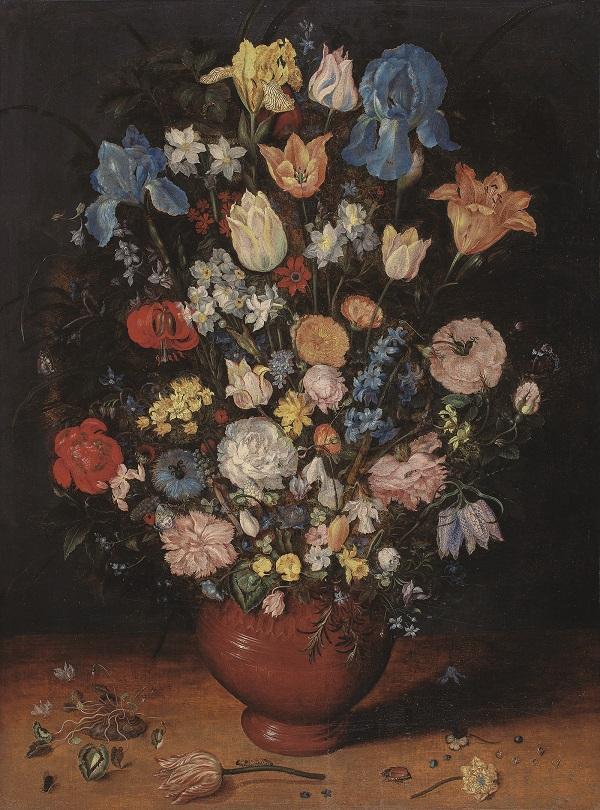 """Ян Брейгель Старший  1568 - 1625 гг..  """"Букет из ирисов, тюльпанов, роз, нарциссов и рябчиков в глиняной вазе"""""""
