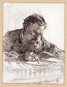 """Николай Ге """"Лев Николаевич Толстой за работой""""  1884 г."""