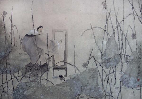 Чжан Чжихуа  Автопортрет  1990 г.   Пекин бумага, акварель 77х108  Из коллекции Татьяны Палеевой   Courtesy of the East Meets West Gallery