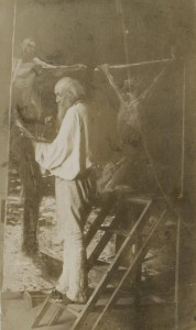 Художник Николай Ге за работой в мастерской  1892 г.